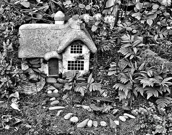 Photograph - Flower Garden Cottage In Black And White by Smilin Eyes  Treasures