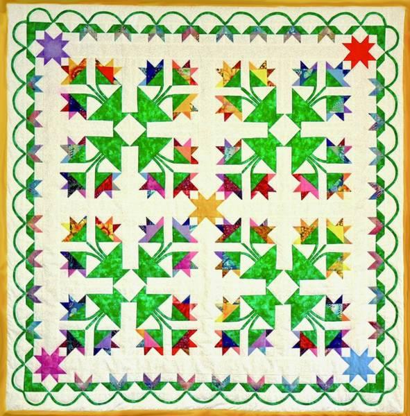 Tapestry - Textile - Flower Garden Quilt by Pat Dolan