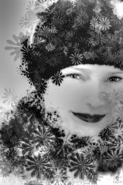 Digital Art - Flower Girl B/w by Pennie McCracken