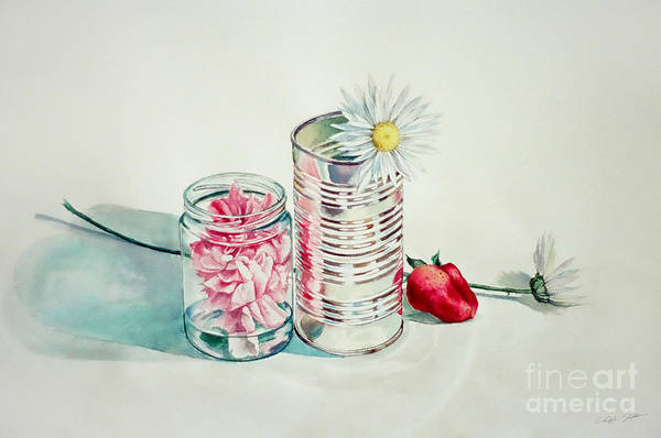 Painting - Flower In A Jar And Tin Can With Strawberry by Christopher Shellhammer
