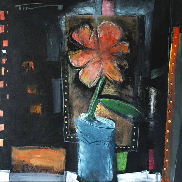 Painting - Flower In Blue Pot by Tim Nyberg