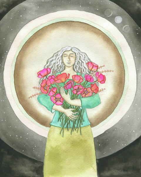 Crone Wall Art - Painting - Flower Love by Clary Sage Moon