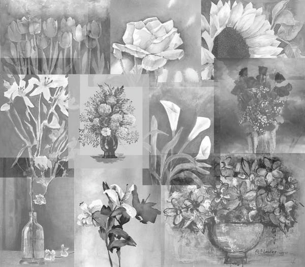 Calla Mixed Media - Flower Montage In Shades Of Gray by Arline Wagner