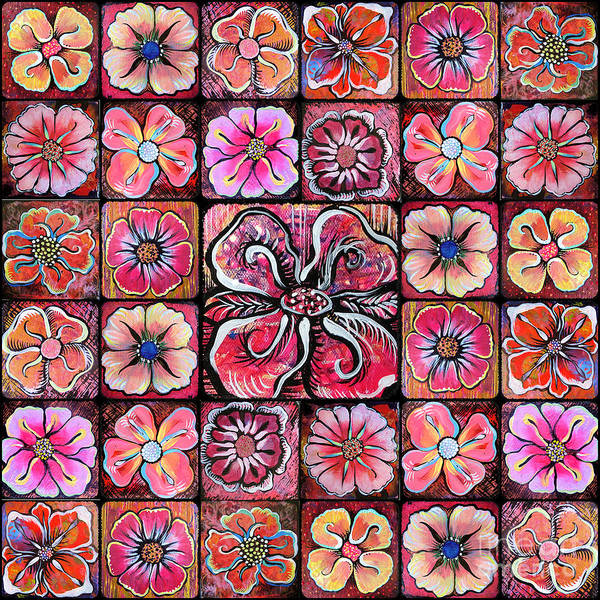 Wall Art - Painting - Flower Montage by Shadia Derbyshire