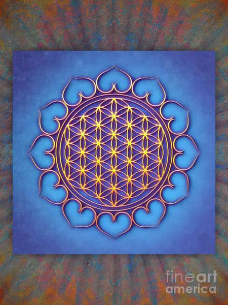 Wall Art - Digital Art - Flower Of Live Lotus - Golden Shine On Blue Beauty II by Dirk Czarnota