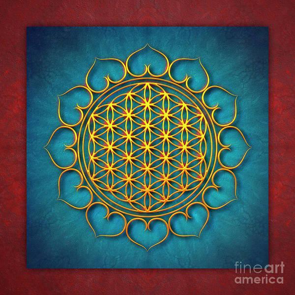 Wall Art - Digital Art - Flower Of Live - Golden Shine On Blue Beauty IIi by Dirk Czarnota