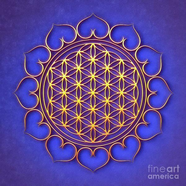 Wall Art - Digital Art - Flower Of Live Lotus - Golden Shine On Blue Beauty I by Dirk Czarnota