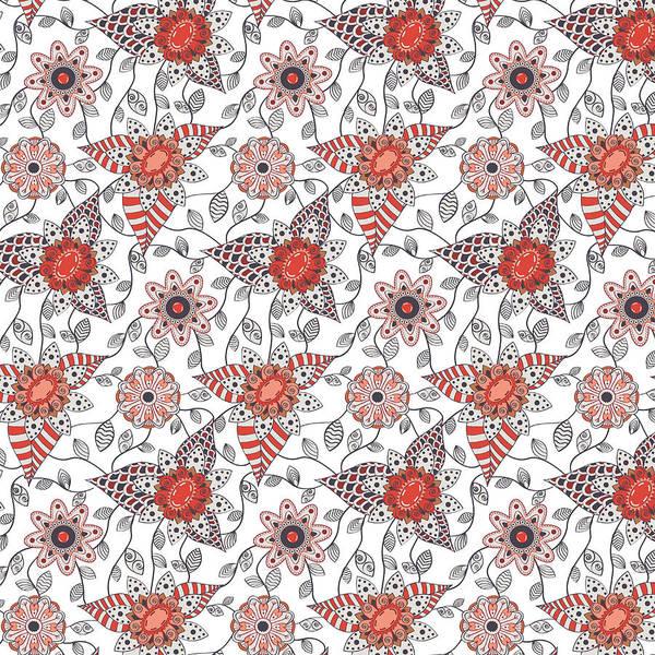 Wall Art - Digital Art - Flower Patter by Veronica Kusjen