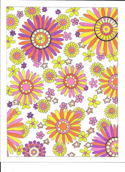 Drawing - Flower Power 1 by Roberta Dunn