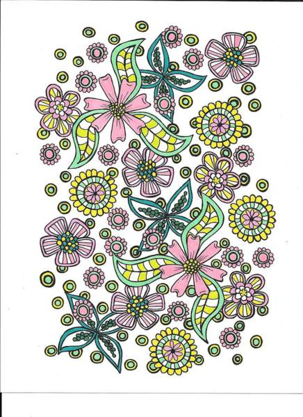 Drawing - Flower Power 5 by Roberta Dunn