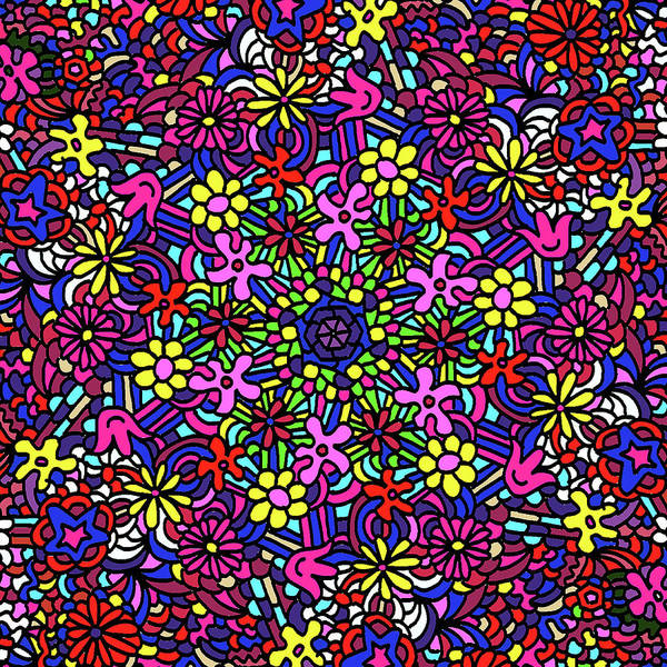 Groovy Mixed Media - Flower Power Doodle Art by Gravityx9 Designs