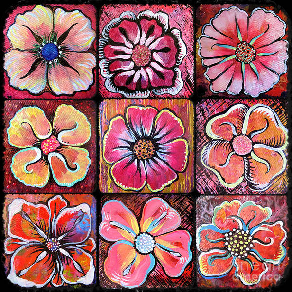 Wall Art - Painting - Flower Power Montage by Shadia Derbyshire