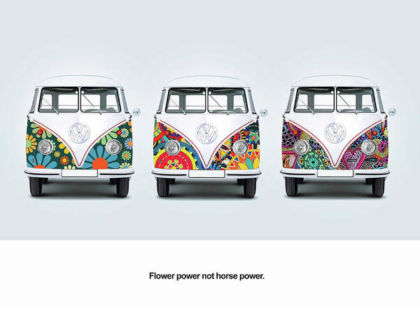 Volkswagen Wall Art - Photograph - Flower Power Vw by Mark Rogan