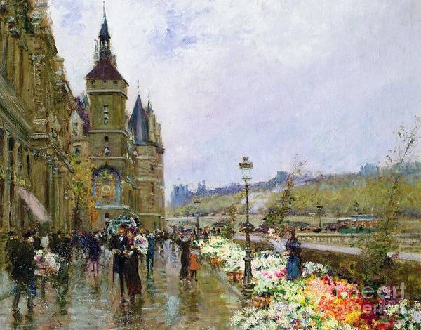 Urban Scene Painting - Flower Sellers By The Seine by Georges Stein
