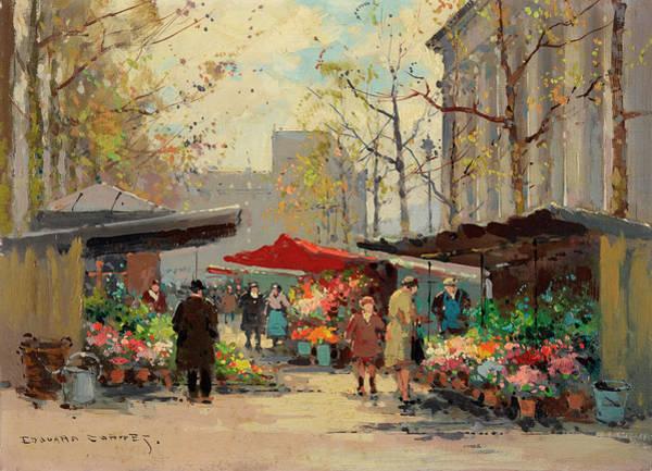 Wall Art - Painting - Flower Stalls At La Madeleine by Edouard Henri Leon Cortes
