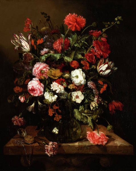 Tulip Bloom Painting - Flower Still Life With A Timepiece by Abraham van Beyeren