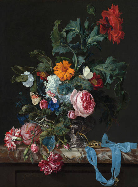 Tulip Bloom Painting - Flower Still Life With A Timepiece by Willem van Aelst