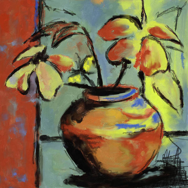 Sad Painting - Flower Vase 407 I by Mawra Tahreem