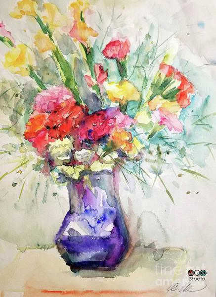 Flower With Purple Vase Art Print