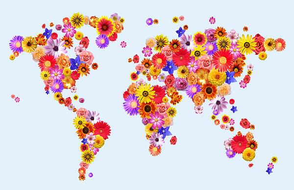 Rose Flower Digital Art - Flower World Map by Michael Tompsett