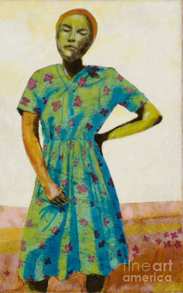 Open Space Mixed Media - Flowered Dress by Andrea Benson