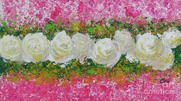 Painting - Flowerline In Pink And White by Corinne Carroll