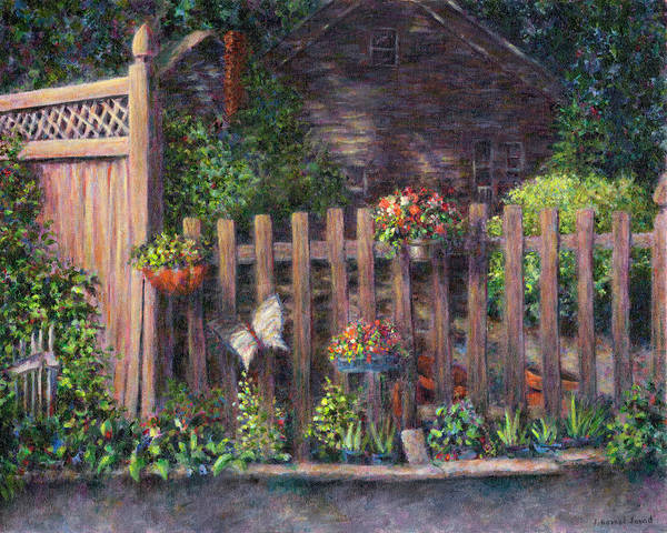 Painting - Flowerpots Hanging On A Fence by Susan Savad