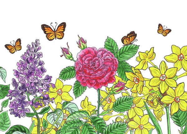 Wall Art - Painting - Flowers And Butterflies Watercolor Garden by Irina Sztukowski