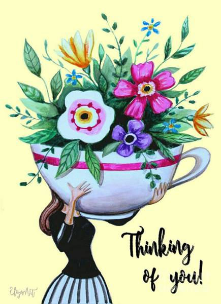 Painting - Flowers And Coffee by Elizabeth Robinette Tyndall