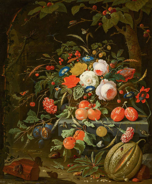 Tulip Bloom Painting - Flowers And Fruit by Abraham Mignon