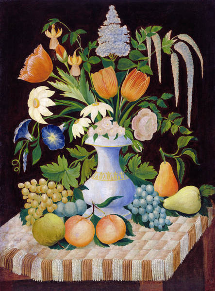 Painting - Flowers And Fruit by American 19th Century