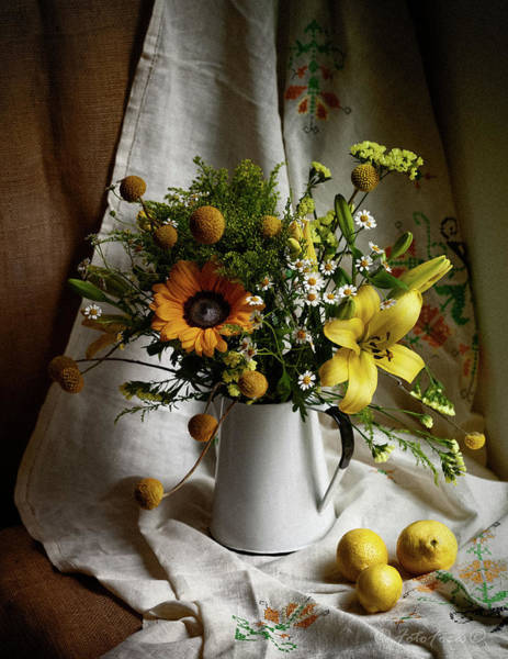 Photograph - Flowers And Lemons by Alexander Fedin