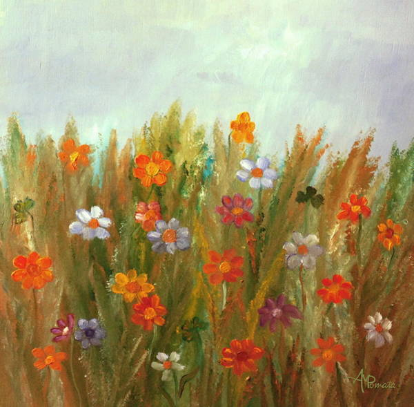 Painting - Flowers At Sunset by Angeles M Pomata
