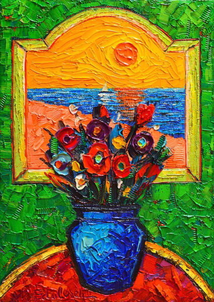 Painting - Flowers At Window By The Sea Modern Impressionist Palette Knife Oil Painting By Ana Maria Edulescu by Ana Maria Edulescu