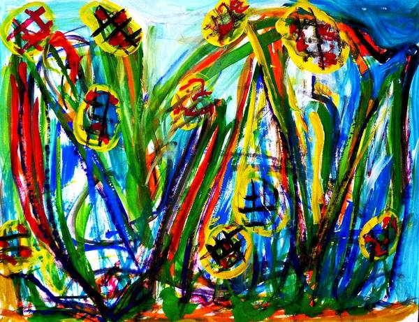 Avi Painting - Wild Flowers. by Avi Zamir
