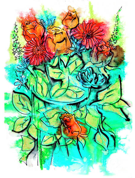 Drawing - Flowers Bouquet, Illustration by Ariadna De Raadt