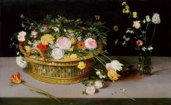 Painting - Flowers In A Basket And A Vase by Jan Brueghel the Elder