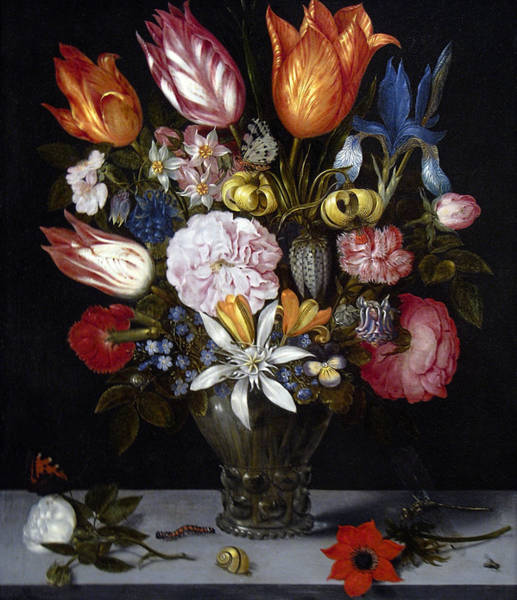 Flowers In A Vase Photograph - Flowers In A Glass By Ambrosius Bosschaert The Elder 1606 by Daniel Hagerman