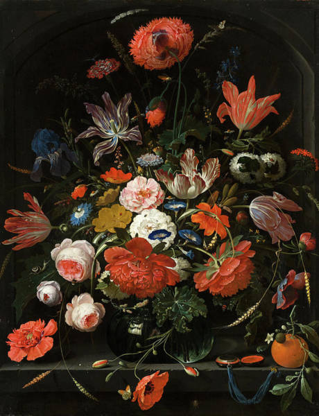 Tulip Bloom Painting - Flowers In A Glass Vase by Abraham Mignon