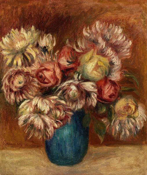 Wall Art - Painting - Flowers In A Green Vase by Pierre-Auguste Renoir