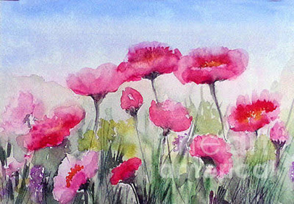 Painting - Flowers In A Meadow by Asha Sudhaker Shenoy