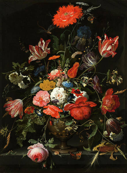 Carnation Painting - Flowers In A Metal Vase by Abraham Mignon