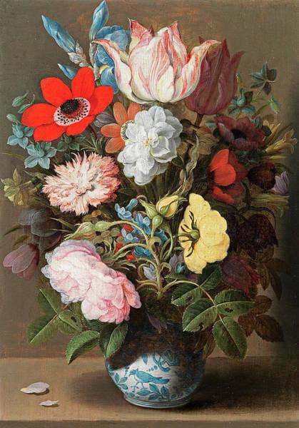 Gladiolus Painting - Flowers In A Porcelain Wan-li Vase by Osaias Beert the Elder
