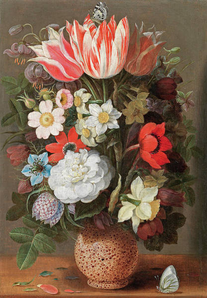 Gladiolus Painting - Flowers In A Serpentine Vase by Osaias Beert the Elder