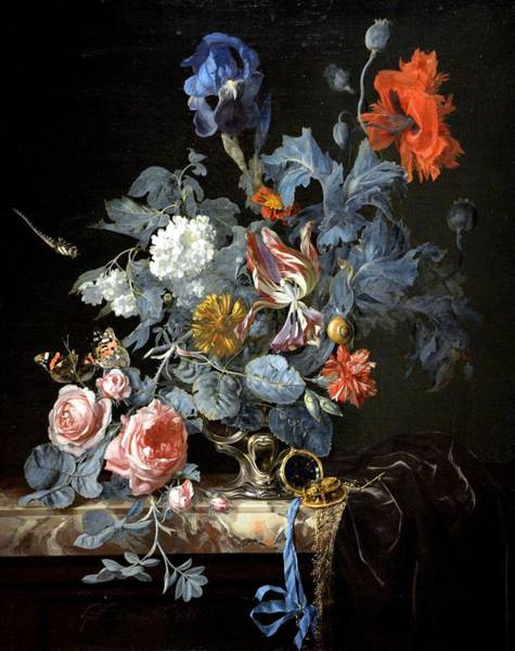 Wall Art - Painting - Flowers In A Silver Vase - Willem Van Aelst 1663 by Willem Van Aelst