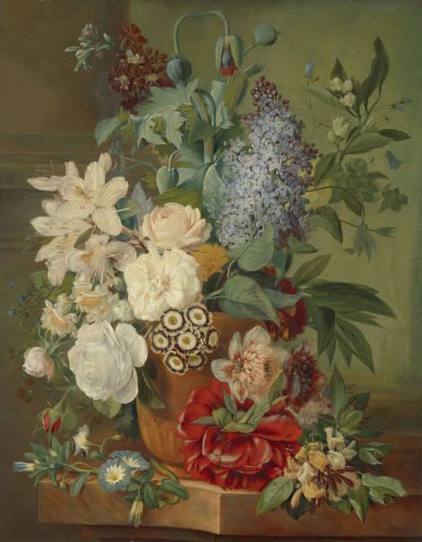 Terracotta Painting - Flowers In A Terracotta Vase by Albertus Jonas Brandt and Eelke Jelles Eelkema