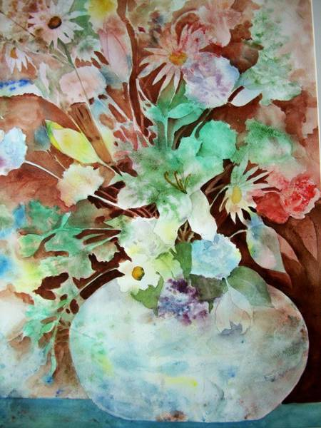 Painting - Flowers In A Vase by Audrey Bunchkowski