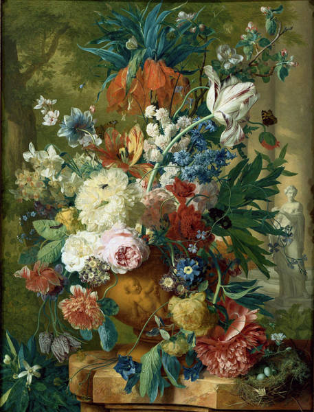 Crown Imperial Painting - Flowers In A Vase With Crown Imperial And Apple Blossom At The Top by Jan van Huysum