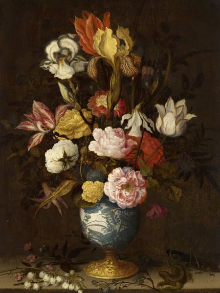 Tulip Bloom Painting - Flowers In A Wan-li Vase by Balthasar van der Ast