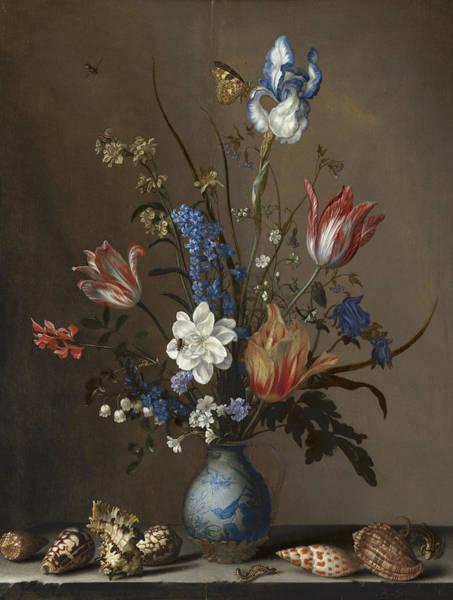 Tulip Bloom Painting - Flowers In A Wan-li Vase, With Shells by Balthasar van der Ast
